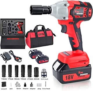 """Cordless Impact Wrench with 2 Battery, 18V 5,000mAh Lithium Battery, KINGSHOWDEN Brushless Impact Wrench 520N.M 1/2"""" Driv..."""