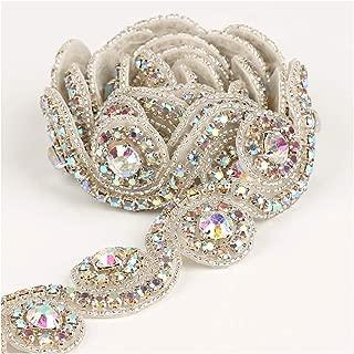 Crystal Applique 1 Yard Silver AB Rhinestone Beaded Applique Bridal Applique for Wedding Dress and Bridal Shower