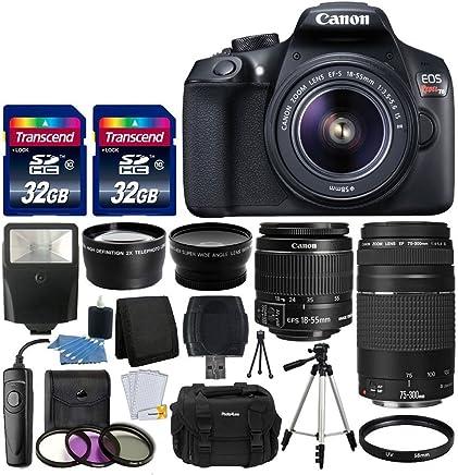 Canon EOS Rebel T6 - Cámara réflex digital (lente Canon 0.709-2.165in, EF-S f/3.5-5.6 IS II, lente EF 2.953-11.811in, f/4-5.6 III, lente gran angular, lente de 2.283in, flash esclavo, tarjeta de memoria de 64 GB, mando a distancia con cable, incluye paquete)