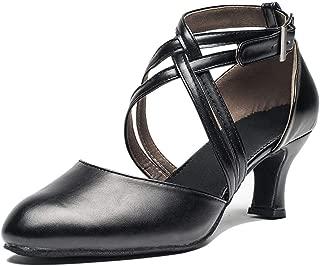 Joocare Women Cross Strap Latin Ballroom Black Character Dance Shoes Ladies Modern Tango Salsa Party Dress Pump