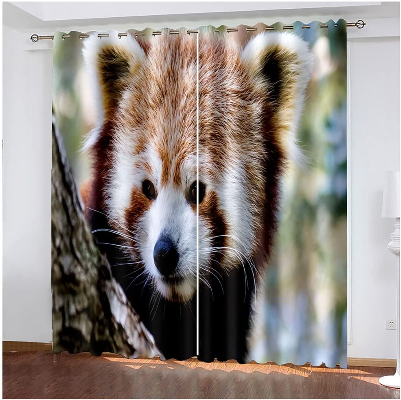 Epinki Polyester free shipping Red Panda Curtain Living Drapes Limited time sale Room for Brown