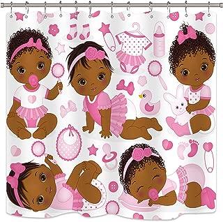 Riyidecor Kids Girls Shower Curtain Children's Pink African American Baby Cute Cartoon Toys Bathroom Home Decor Set Fabric Polyester Waterproof 72x72 Inch 12 Plastic Hooks