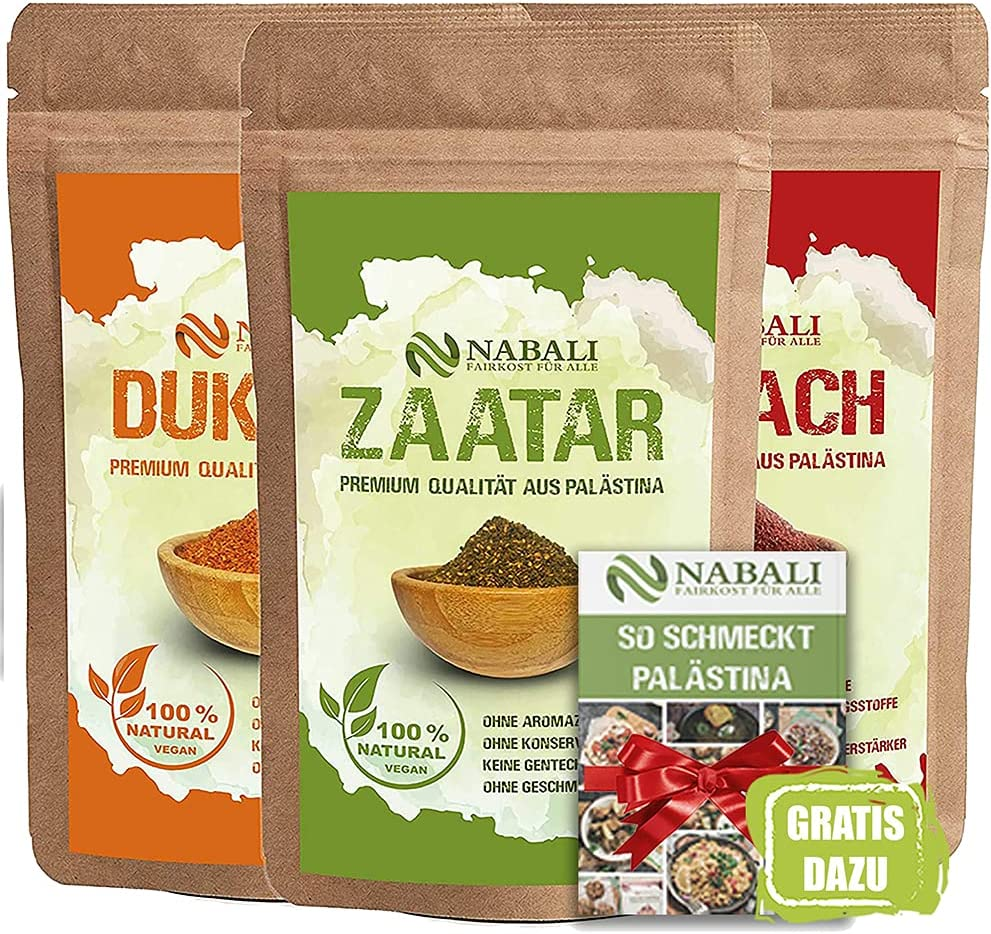 NABALI FAIRKOST Zaatar & Dukkah & Sumach productos de calidad de Palestina I 100% natural aromático Tradicionalmente fresco Oriental I sin conservantes I vegano (100g)