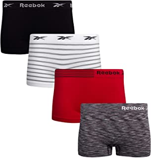 Reebok Women's Seamless Performance Boyshort Panties with Logo Waistband (4 Pack)