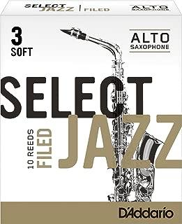 Rico Select Jazz Alto Sax Reeds, Filed, Strength 3 Soft