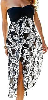 0fb9baca30c SEBOWEL Femmes Bohème Floral Imprimer Off épaule Genou-Longueur Robe de  Plage Noir Blanc Robe