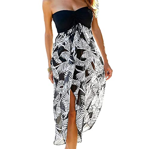 1816a6d178 SEBOWEL Women Bohemian Print Beach Dress Sundress Beachwear Bikini Cover Ups