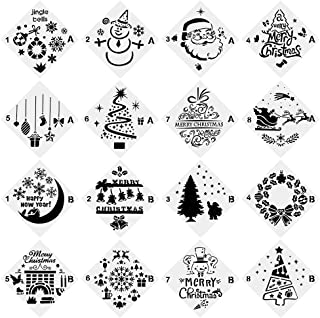 URlighting Christmas Stencils (16 Pcs), Bullet Stencil Template Set - Santa Claus, Christmas Tree, Jingling Bell, Snowman ...