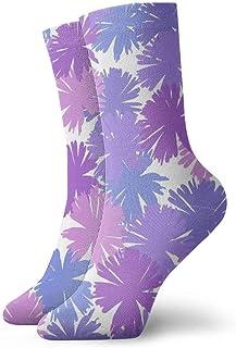 Flores tropicales Calcetines cortos transpirables Calcetines clásicos de algodón de 30 cm para hombres Mujeres Yoga Senderismo Ciclismo