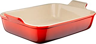 Le Creuset Heritage Stoneware 7-by-5-Inch Rectangular Dish, Cerise (Cherry Red)