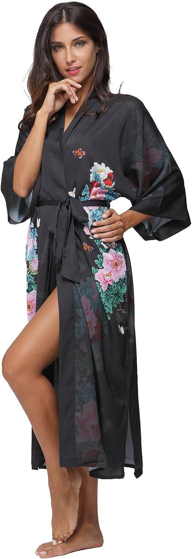 The Bund TheBund Women's Watercolor Floral Kimono Robe Long