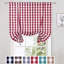 CAROMIO Tie Up Curtains for Windows, Buffalo Check Plaid Gingham Pattern Rod Pocket Adjustable Tie Up Shades for Kitchen Windows Cafe Curtains, 42x63 Inches, Red