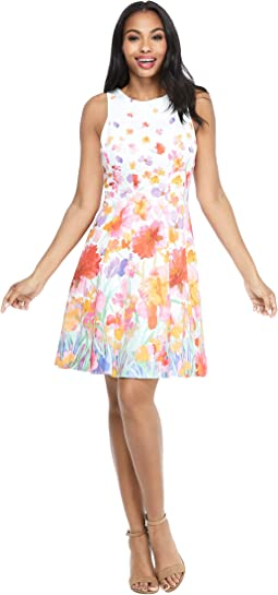 Watercolor Iris Fit-and-Flare Dress