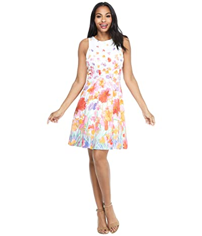 Maggy London Watercolor Iris Fit-and-Flare Dress (Soft White/Red) Women