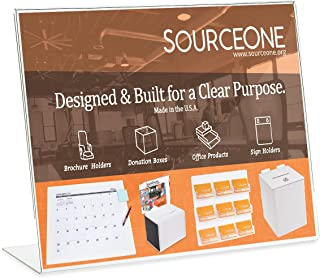 Source One Deluxe 17 Wide x 11 Tall Slant Back Clear Thick Acrylic Sign Holder - Brochure Holder