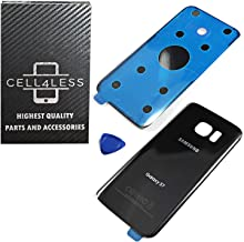 CELL4LESS Compatible Back Glass Cover Battery Door w/Pre-Installed Adhesive Replacement for Samsung Galaxy S7 (NOT S7 Edge)- G930 Models & All Carriers No IMEI- 2 Logo - OEM Replacement Part (Black)