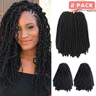 Beauty Angelbella 8 inch 2 Packs Spring Twist Crochet Hair Ombre Fluffy Twist Braids Synthetic Braiding Hair Extensions 30 Roots/Pack 110g