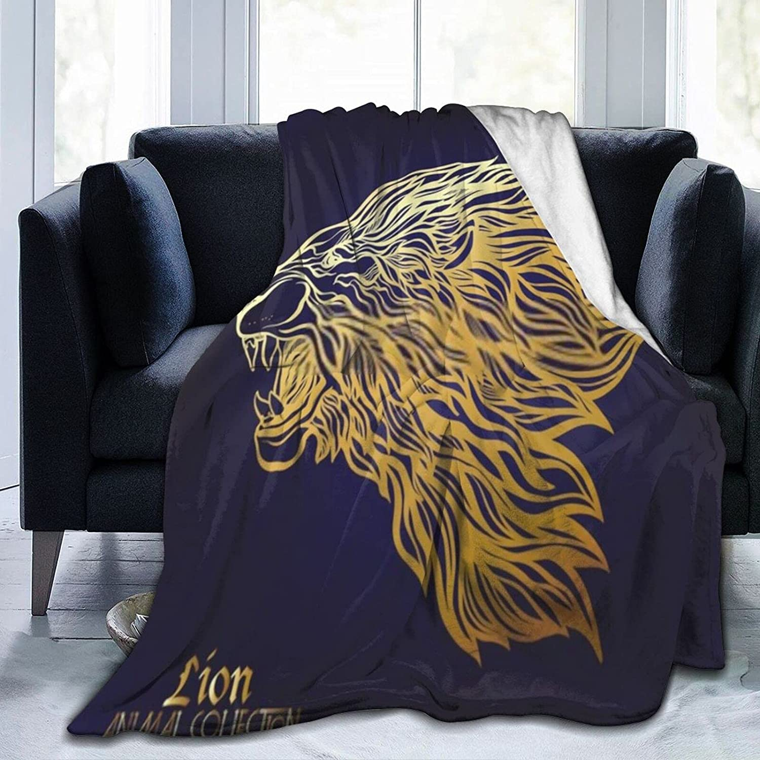 Black and Spring new work Gold African Lion1 Lowest price challenge Soft Super Comfortable Blanket