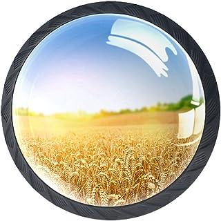 4 tiradores redondos de cristal transparente con tornillos para cocina aparador baño armario campo de trigo
