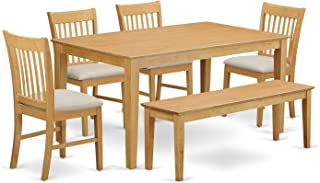 East West Furniture CANO6-OAK-C 6-Pc Dinette Set - Dinette Table and 4 Dining Chairs coupled with Wooden Bench