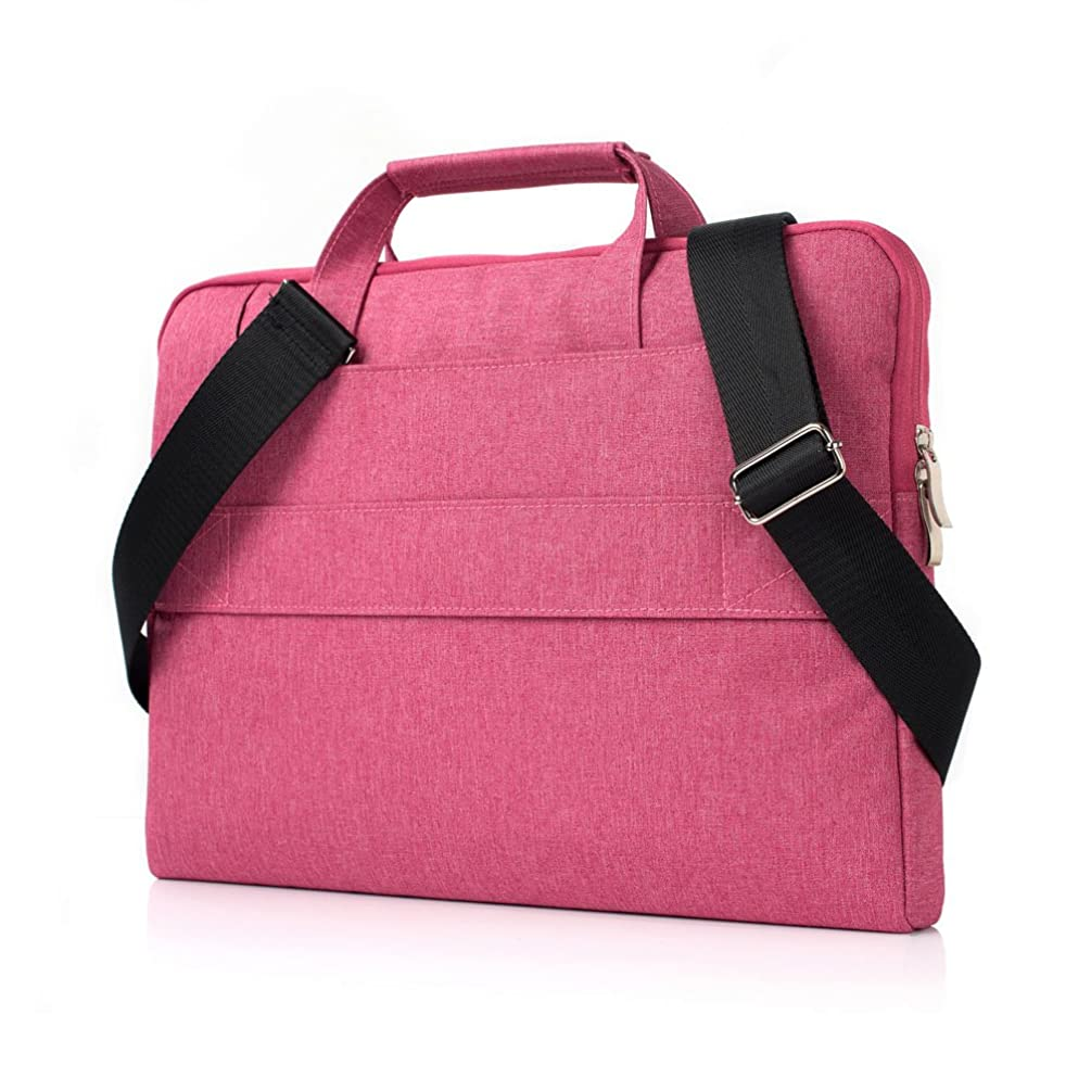 13 Inch Laptop Shoulder Bag, 2win2buy Messenger Bag Multi Functional Protective Tablet Case Cover with Strap & Handle for Up to 13.3 Inch MacBook Notebook Chromebook for Business Travel-Rose Red