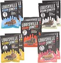 Louisville Vegan Jerky - 5 Flavor Mega Variety 10-Pack, 21 Grams of Non-GMO Soy Protein, Gluten-Free Ingredients (Black Pepper, Chipotle, Perfect Pepperoni, Maple Bacon and Carolina BBQ, 3 Ounces)