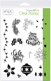 Gina K. Designs for Therm O Web 18119 StampnFoil Clear Stamps, Holly Jolly
