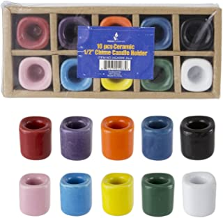 Mega Candles 10 pcs Assorted Colors Ceramic Chime Ritual Spell Candle Holders, Great for Casting Chimes, Rituals, Spells, Vigil, Witchcraft, Wiccan Supplies & More