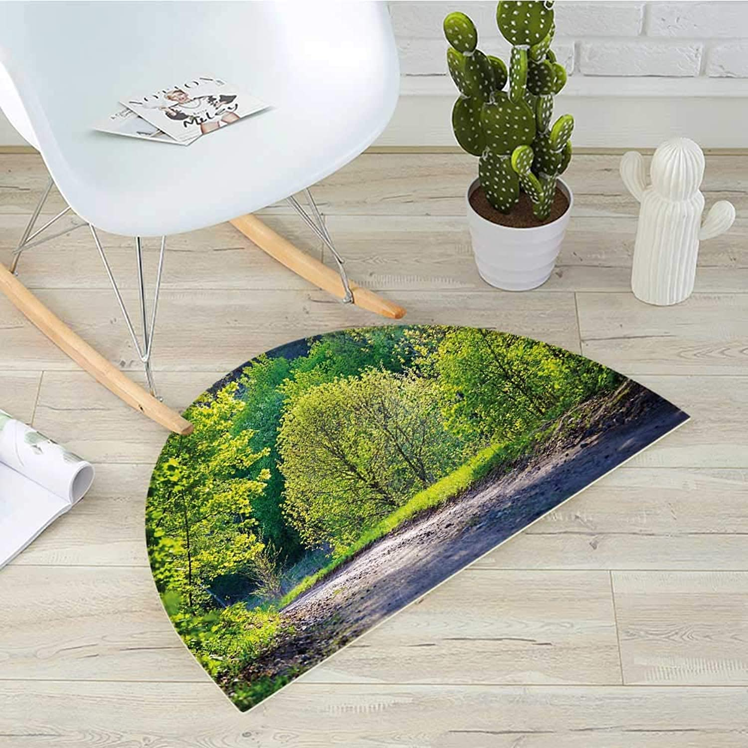 Spring Half Round Door mats Path in Forest by The Lake Sun Light Reflecting on Fresh Leaves Tranquil Image Bathroom Mat H 39.3  xD 59  Lime Green Grey