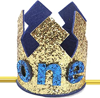 Finduat Baby Boy First Birthday Crown Hat, Baby Boy Crown Tiara Headbands Party Hat for Baby Boy 1st Birthday Party Supplies
