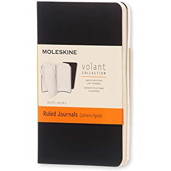 "Moleskine Volant Journal, Soft Cover, XS (2.5"" x 4"") Ruled/Lined, Black, 56 Pages (Set of 2)"