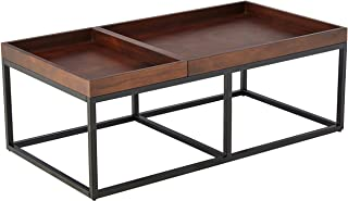 """Amazon Brand – Rivet Modern Industrial Coffee Table with Metal Base and Trays, 42.1""""W, Walnut Finish"""
