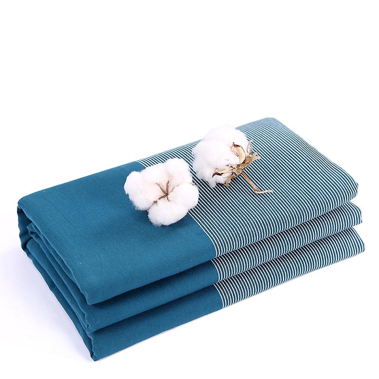 発明メガロポリス流出綿100% ベッドシーツ, な ストライプ とろみ 目の粗い布地を手 綿 シングル クイーン シート 寝具 ダブル シワ アレルギーのない フラットシーツ-A 240x260cm(94x102inch)