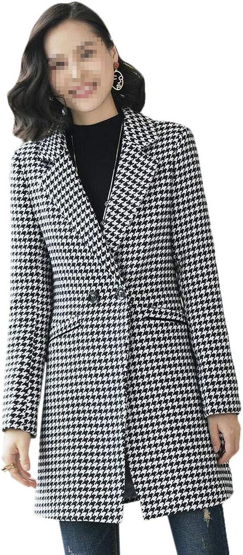 Keaac Women Loose Houndstooth Print Notched Lapel Wool Parka Jackets Overcoat