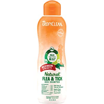 TropiClean Natural Flea & Tick Shampoos for Dogs - Made in USA - Kills 99% of Fleas, Ticks, Larvae, Eggs by Contact - EPA-Approved Cedarwood & Lemongrass Oil