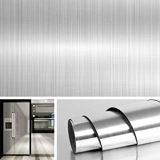 Livelynine Brushed Nickel Vinyl Peel and Stick Wallpaper Decorative Stainless Steel Wall..