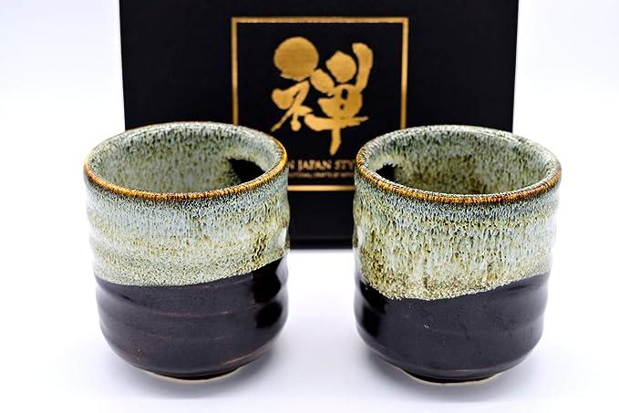 Black Japanese Mino Yaki Sushi Yunomi 4.7oz Tea Cup 4pc set 2.5//2.5//3.3inch