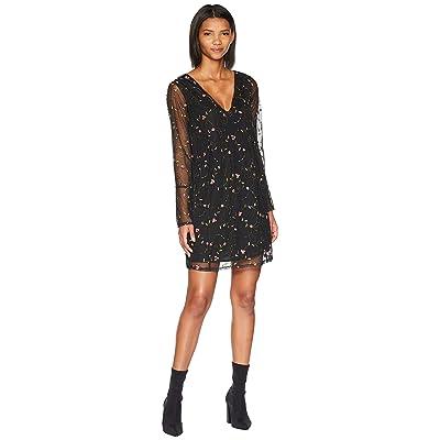 BCBGeneration Bow Back Flare Sleeve Dress (Black Multi) Women