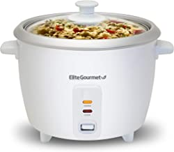 Elite Gourmet ERC-003 Electric Rice Cooker with Automatic Keep Warm Makes Soups, Stews, Grains, Hot Cereals, 6 Cups Cooked...