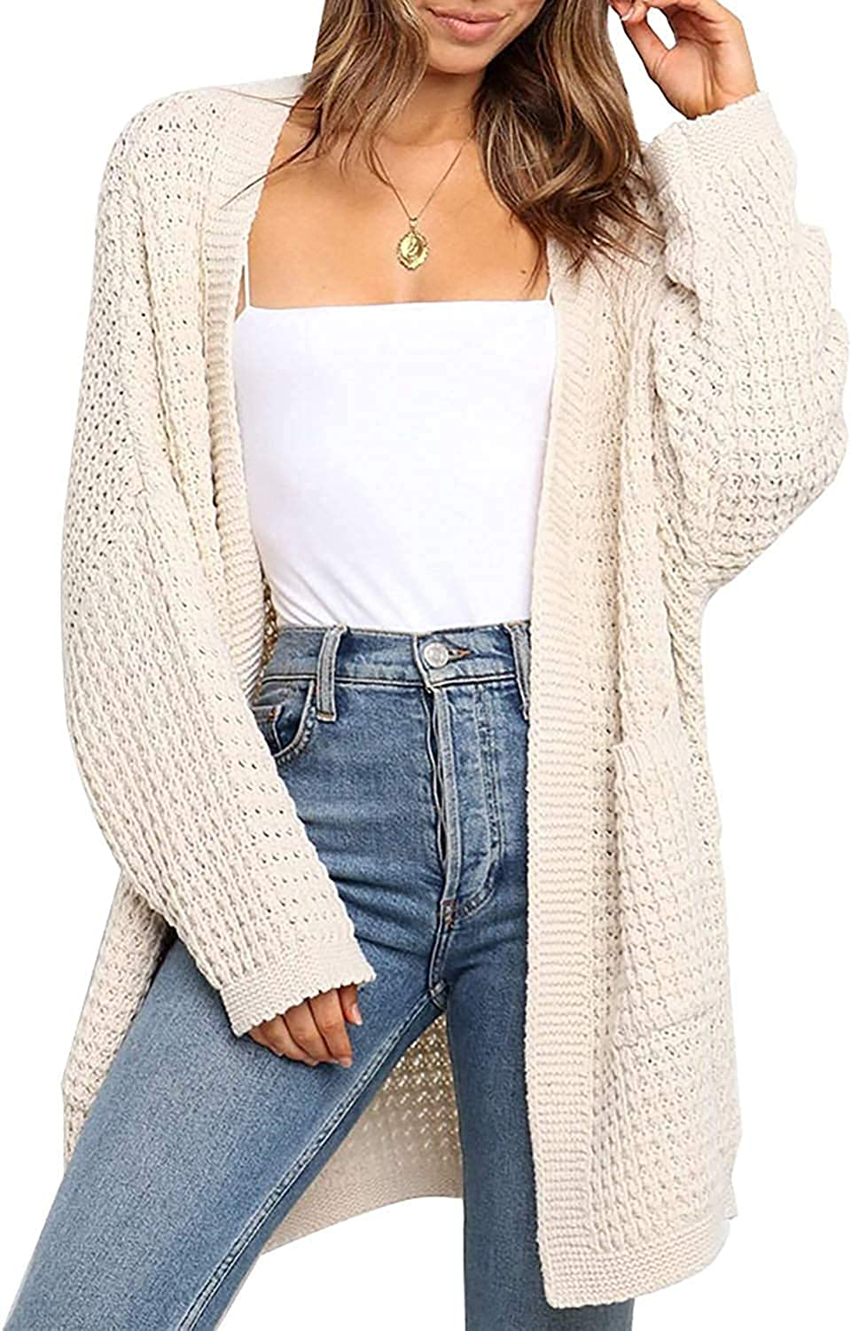 Women's long cardigan sweater casual and comfortable oversized cardigan knitted sweater with pockets