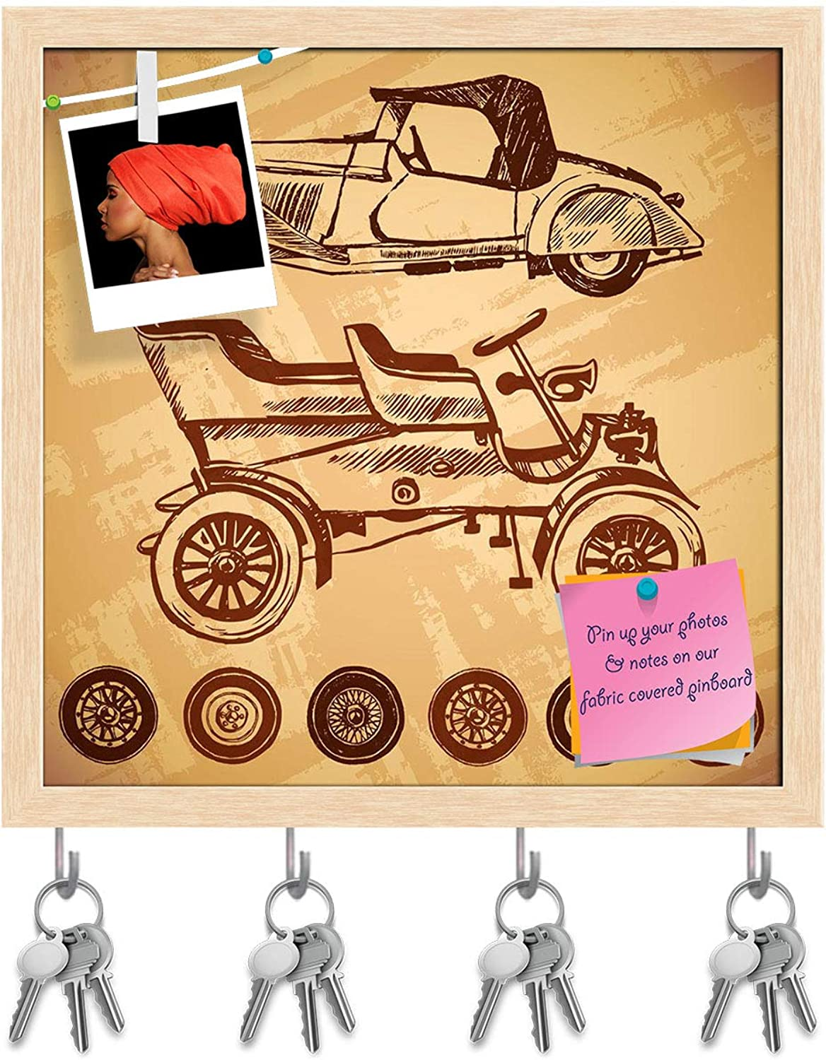 Artzfolio Vintage Car D14 Key Holder Hooks   Notice Pin Board   Natural Brown Frame 20 X 20Inch