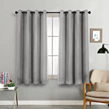 Vangao Grey Linen Textured Curtains for Bedroom 72 inches Long Room Darkening Window Curtain Grommet Light Reducing Drapes Living Room Curtain, 1 Pair Gray