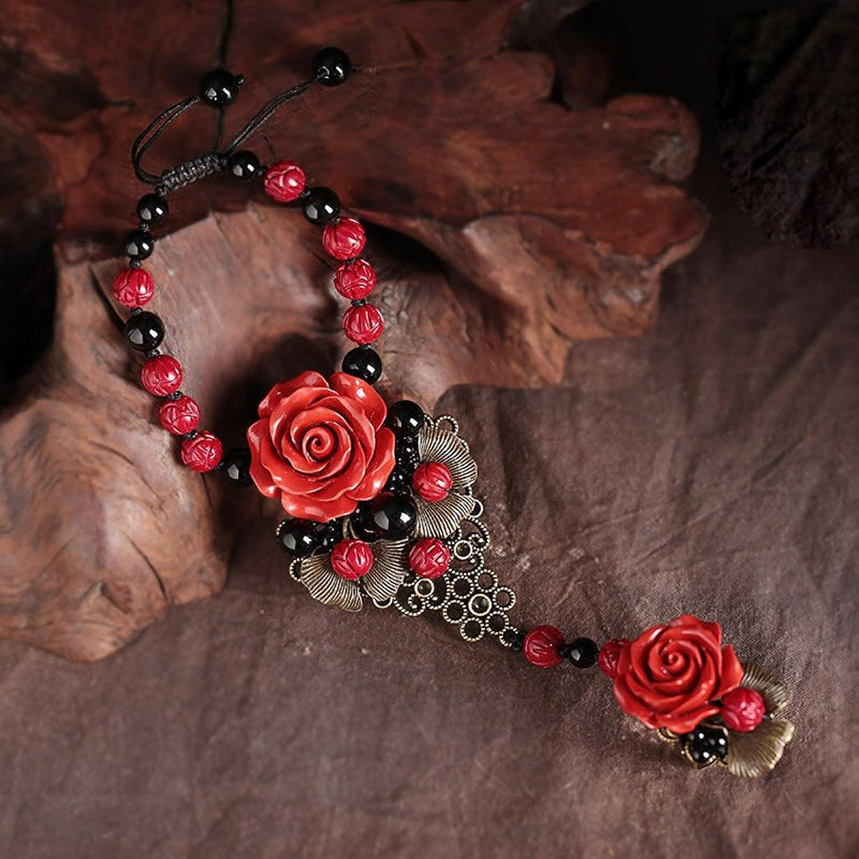 Olici Ladies And Teen Girls Elastic Beaded Charm Bracelet Palaeo Bracelet Ring Chain Cinnabar Flower Ornament Hand Ring Retro Back Chain