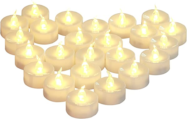 Homemory Warm White Battery LED Tea Lights Set Of 24 Flameless Flickering Tealight Candle Electric Fake Candle For Votive Wedding Party Table Dining Room Gift