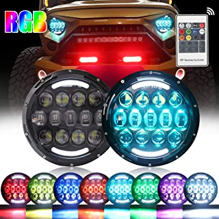 105W RGB Led Headlights 7 Inch Round Headlight with Remote Controller High/Low Beam DRL Headlamps for Jeep Wrangler JK TJ JL CJ AM General Hummer (105W 2PCS)