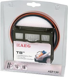 AEG AEF139 T8 Filter-Set für beutellose Staubsauger 1 Schaumfilter, 1 Hygienefilter, 1 Motorfilter, saubere Luft, verbesserte Saugleistung, passgenau, für AEG AT3550, 3560, 3570, schwarz