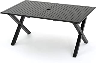 Christopher Knight Home 301072 Eowyn Black Cast Aluminum Expandable Outdoor Dining Table