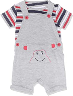 Elsayaad Cotton Striped Short-Sleeves T-shirt with Frog Stitched Sleeveless Romper Clothing Set for Boys 2 Pieces