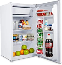 MOOSOO Compact Refrigerator, 3.2 Cu.Ft Mini Fridge with Freezer, 7 Temp Adjustable, Low Noise Small Refrigerator with Reversible Door, Energy Saving, Ideal for Bedroom Office and Dorm, Drink and Food Storage, CSA Certificated, White