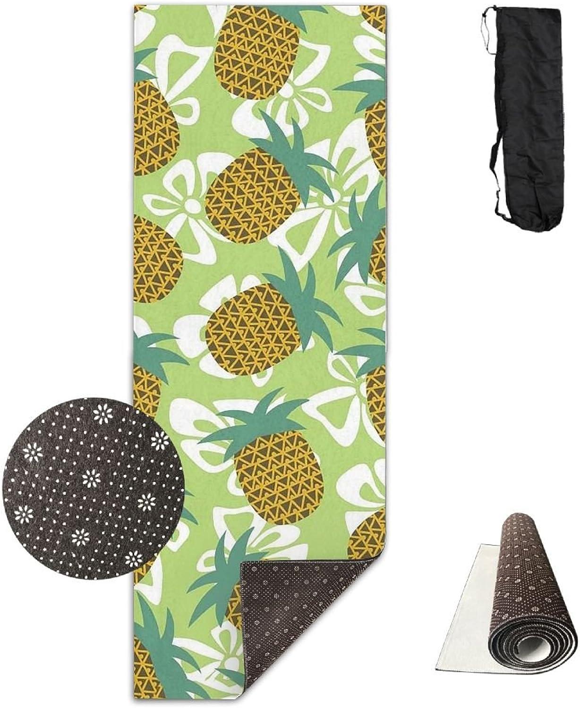 Yoga Mat Non Slip 24  X 71  Exercise Mats Flower Pineapple Premium Fitness Pilates Carrying Strap